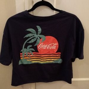 NWOT Coca-Cola tropical sunset palm trees crop tee